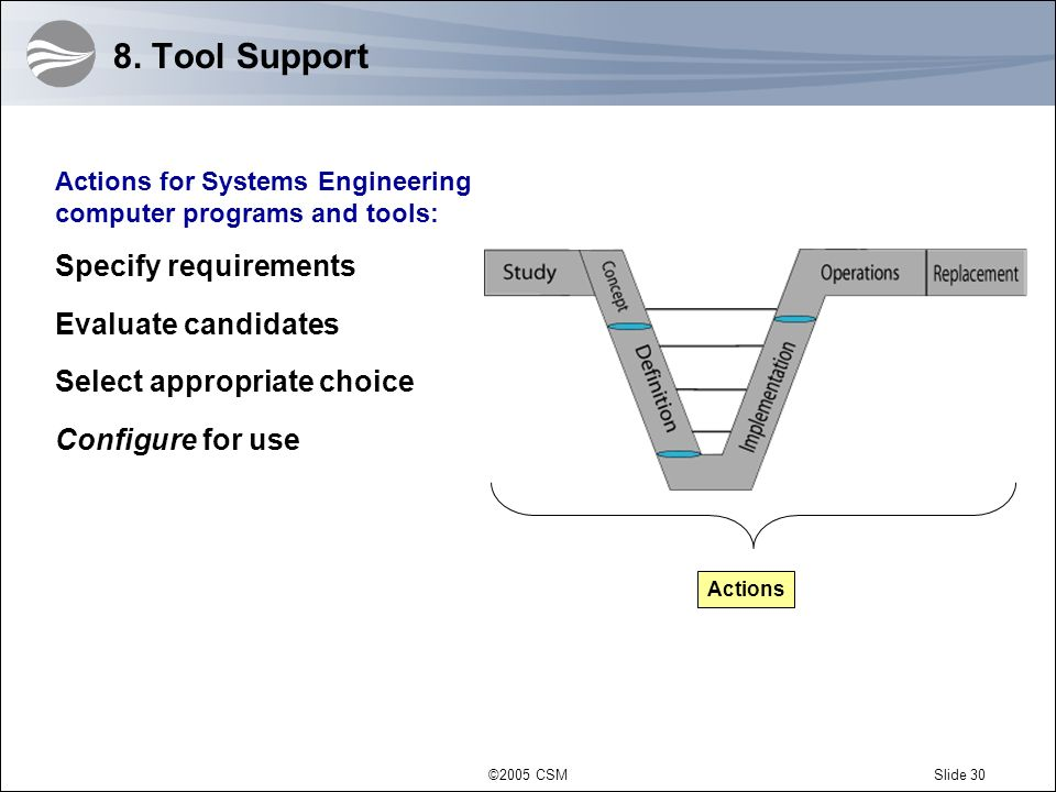 8. Tool Support Specify requirements Evaluate candidates