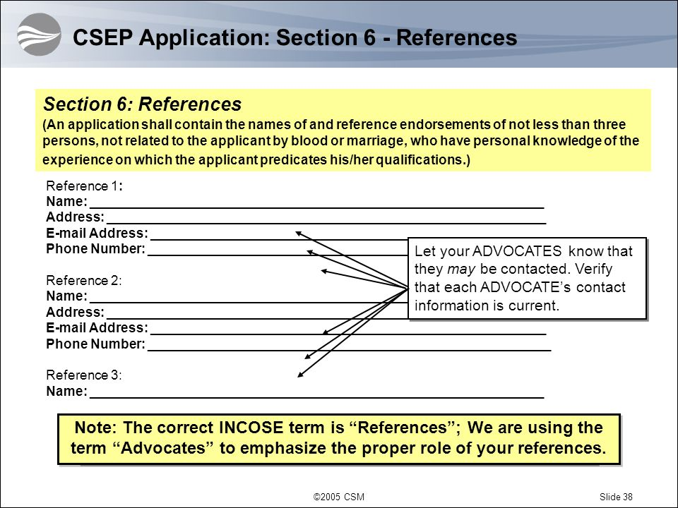 CSEP Application: Section 6 - References