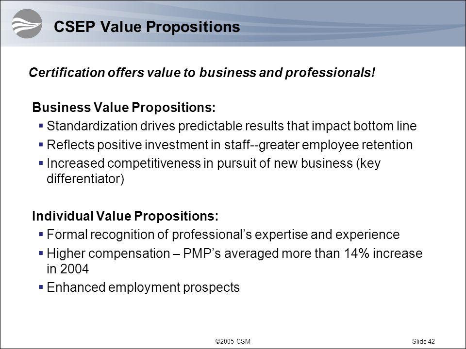 CSEP Value Propositions