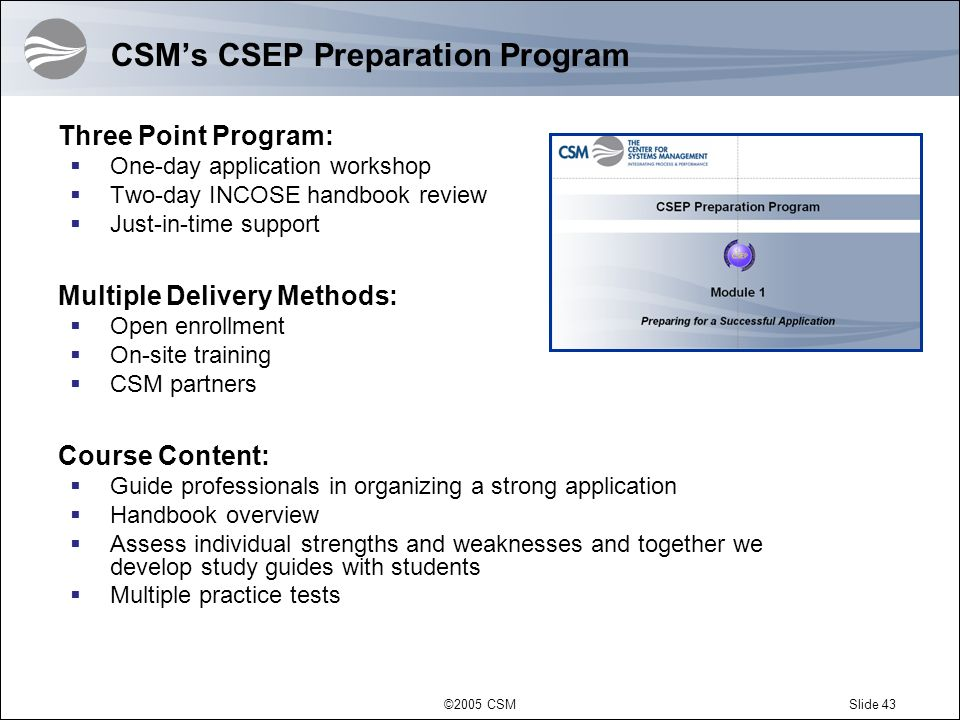 CSM's CSEP Preparation Program