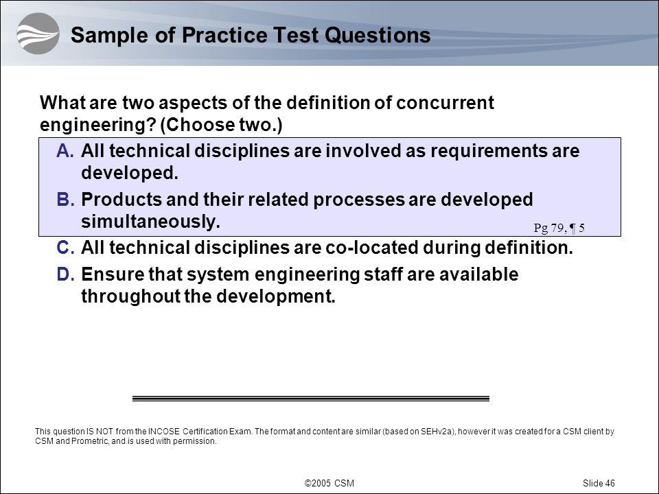 Sample of Practice Test Questions