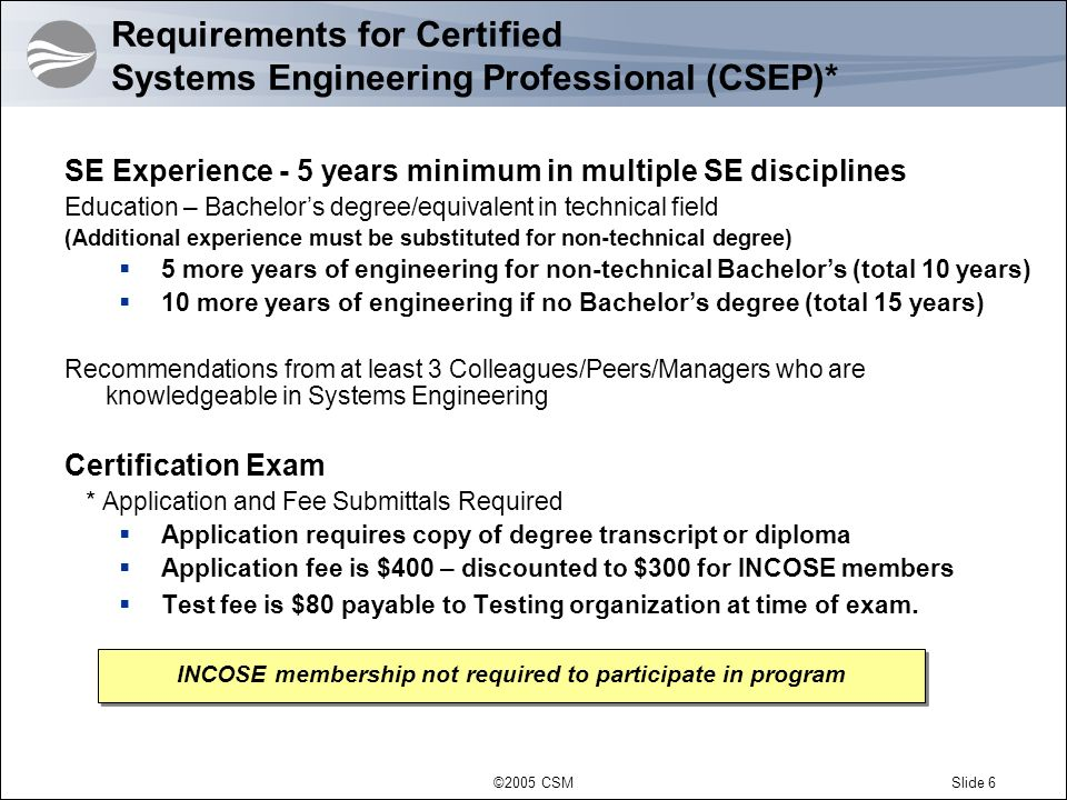 requirements for certified systems engineering professional csep - Csep Systems Engineer Sample Resume