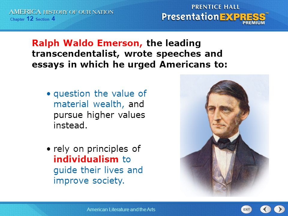 essayist ralph waldo emerson urged americans to Buy nature by ralph waldo emerson  emerson was a lecturer, essayist and  emerson declared literary independence in the united states and urged americans to.