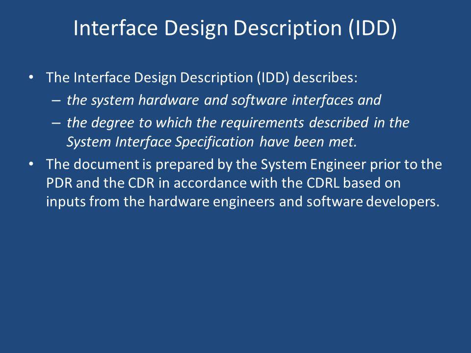 Interface Design Description (IDD)