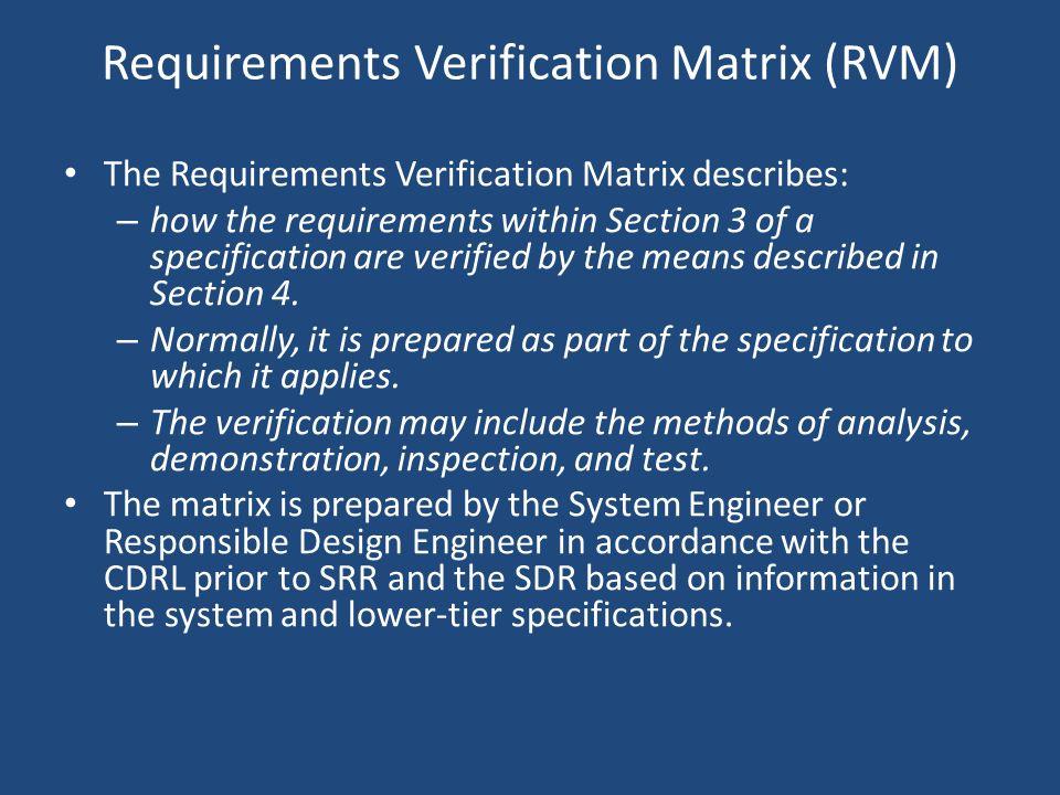 Requirements Verification Matrix (RVM)