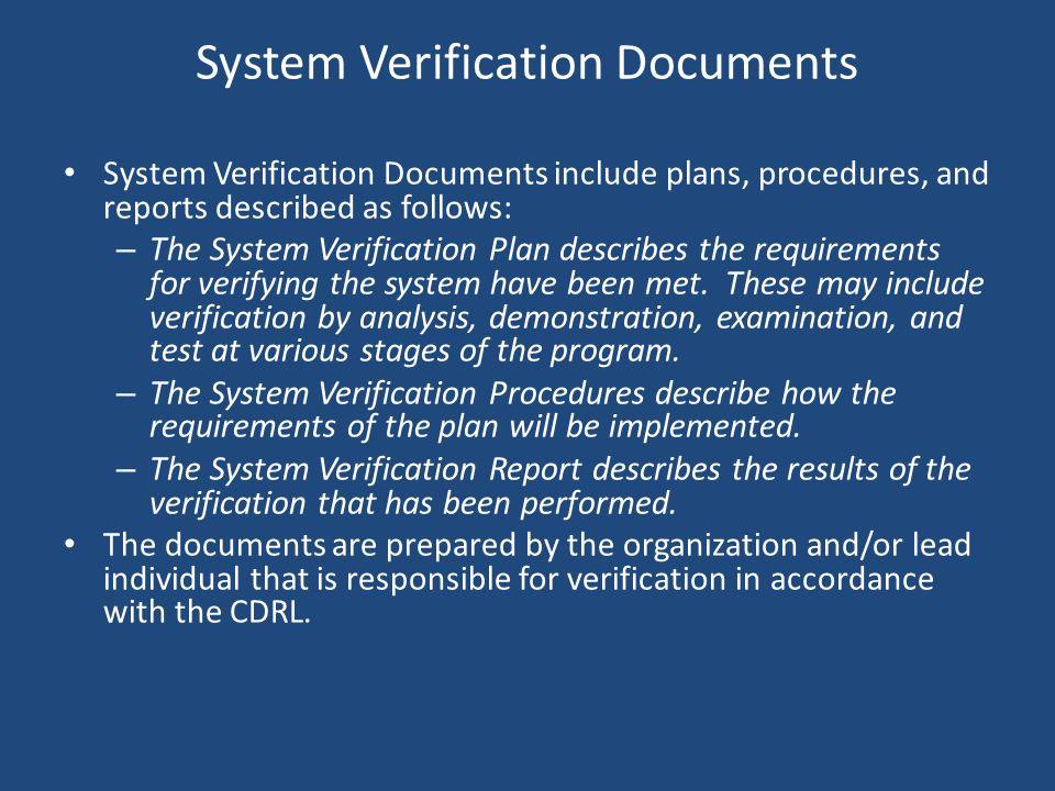 System Verification Documents