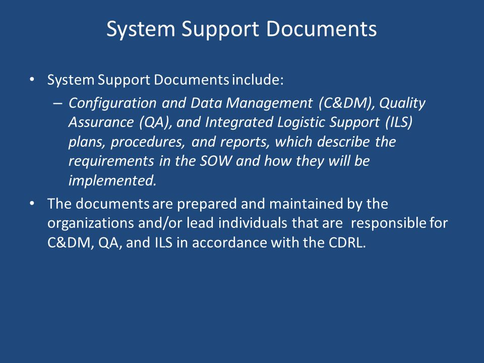 System Support Documents