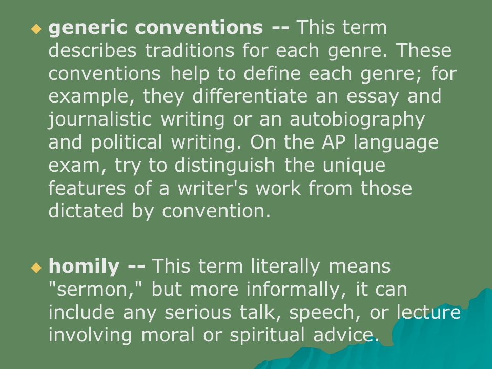 essay on generic conventions and context Genre studies is an academic subject which studies genre theory as a branch of general critical generic conventions context plays an important role in.