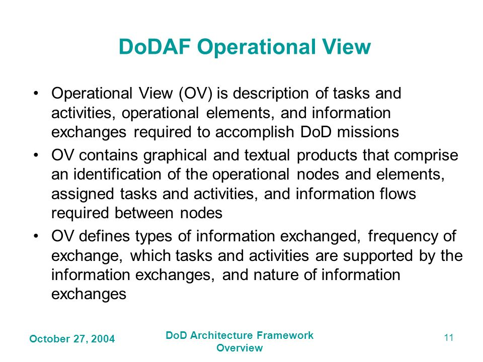 DoDAF Operational View DoD Architecture Framework