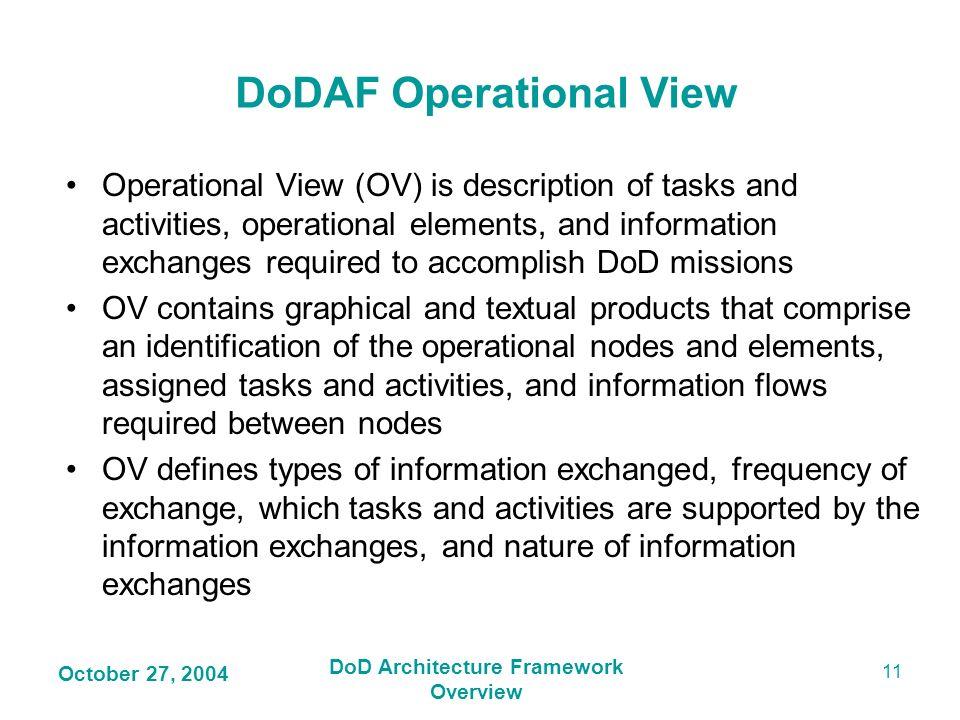 DoDAF Operational View DoD Architecture Framework