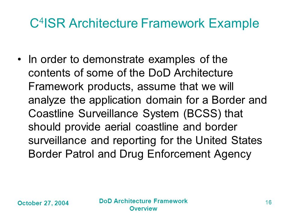 C4ISR Architecture Framework Example