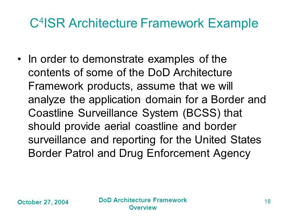 C4ISR Architecture Framework Example