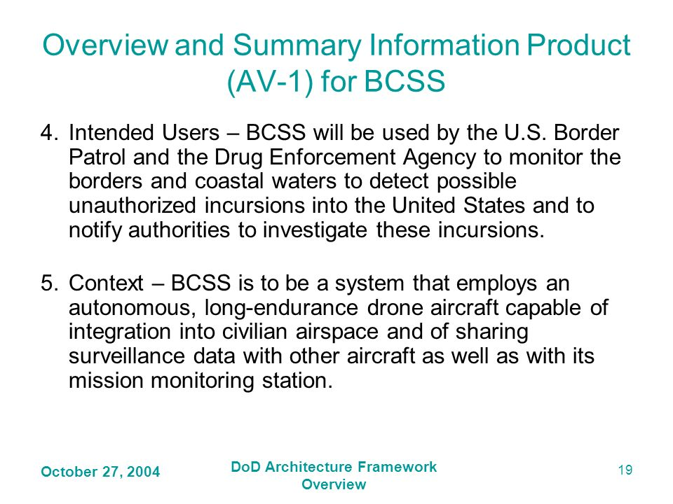 Overview and Summary Information Product (AV-1) for BCSS