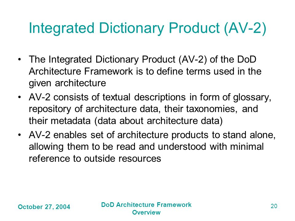 Integrated Dictionary Product (AV-2)