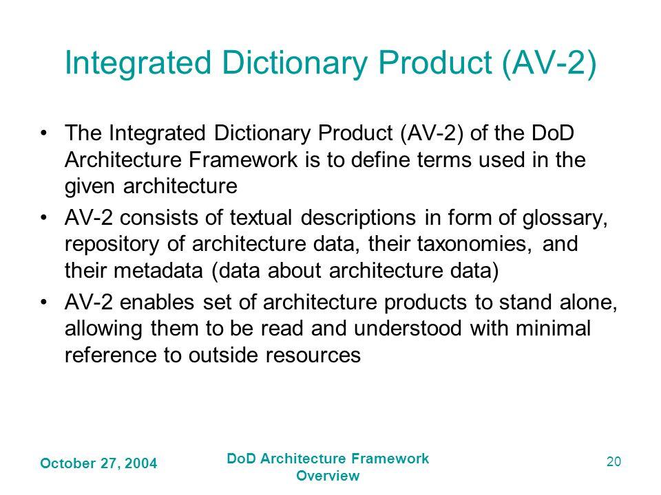 Integrated Dictionary Product (AV-2)