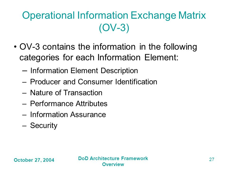 Operational Information Exchange Matrix (OV-3)