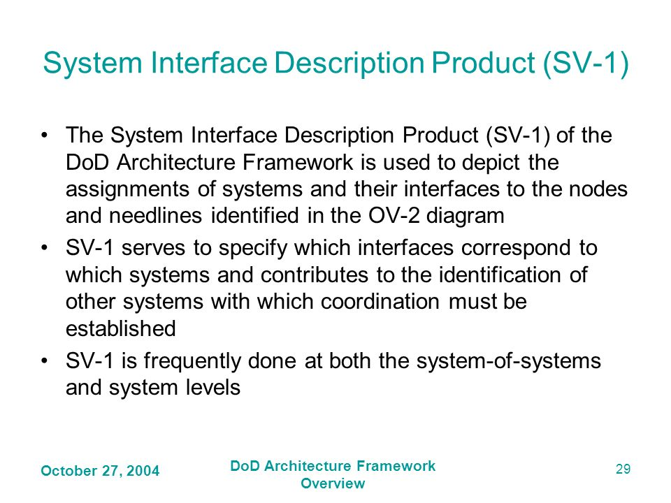 System Interface Description Product (SV-1)