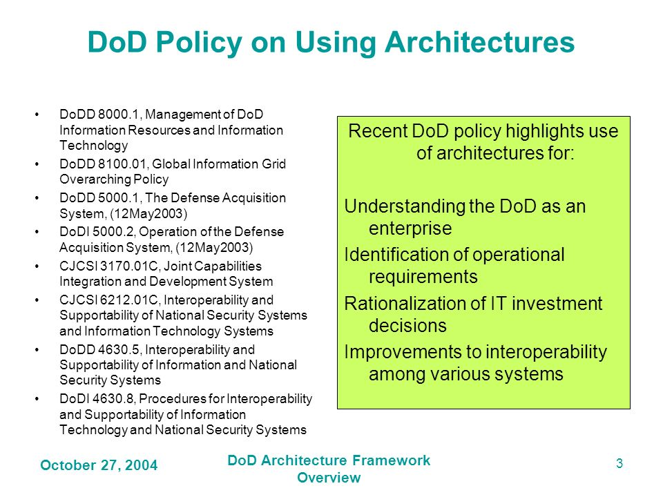 DoD Policy on Using Architectures