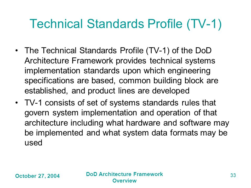 Technical Standards Profile (TV-1)