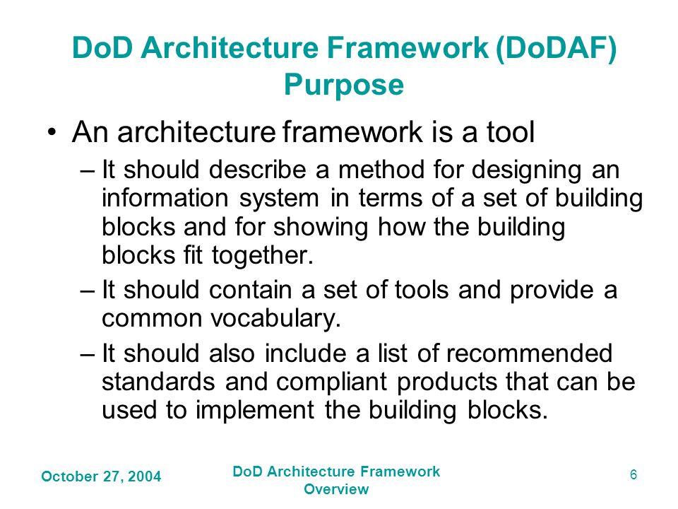 DoD Architecture Framework (DoDAF) Purpose DoD Architecture Framework
