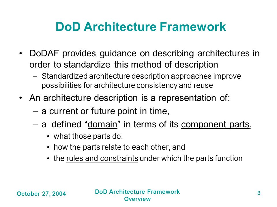 DoD Architecture Framework DoD Architecture Framework