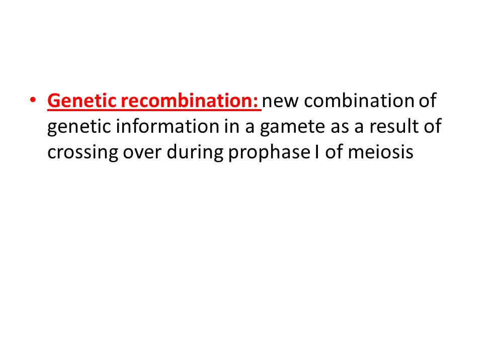 Genetic recombination: new combination of genetic information in a gamete as a result of crossing over during prophase I of meiosis