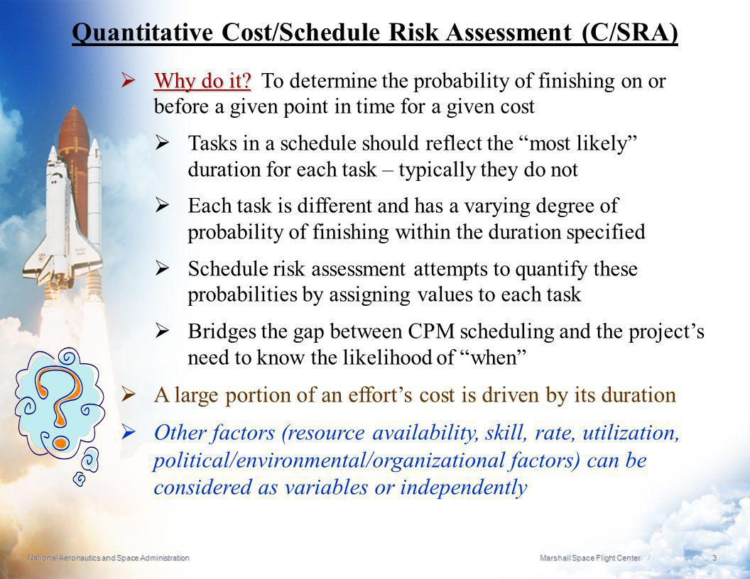 Quantitative Cost/Schedule Risk Assessment (C/SRA)