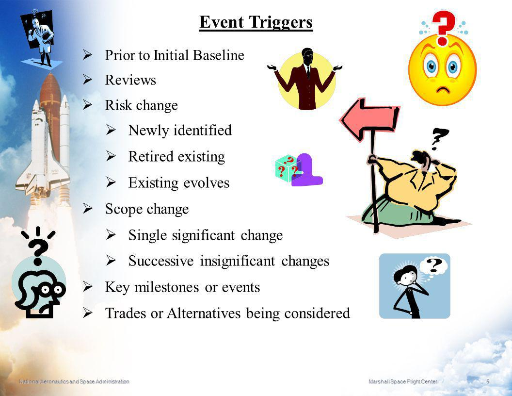Event Triggers Newly identified Retired existing Existing evolves