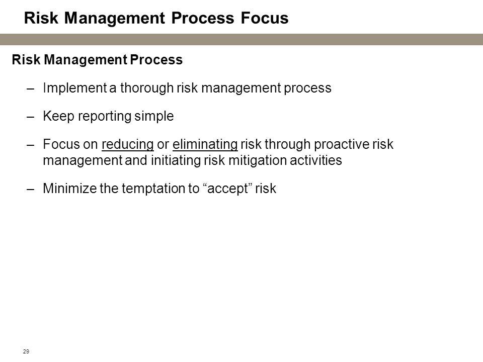 Risk Management Process Focus