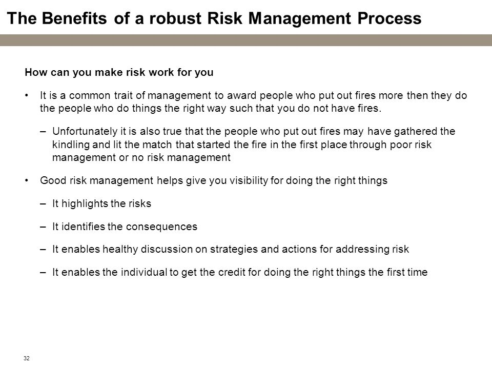 The Benefits of a robust Risk Management Process