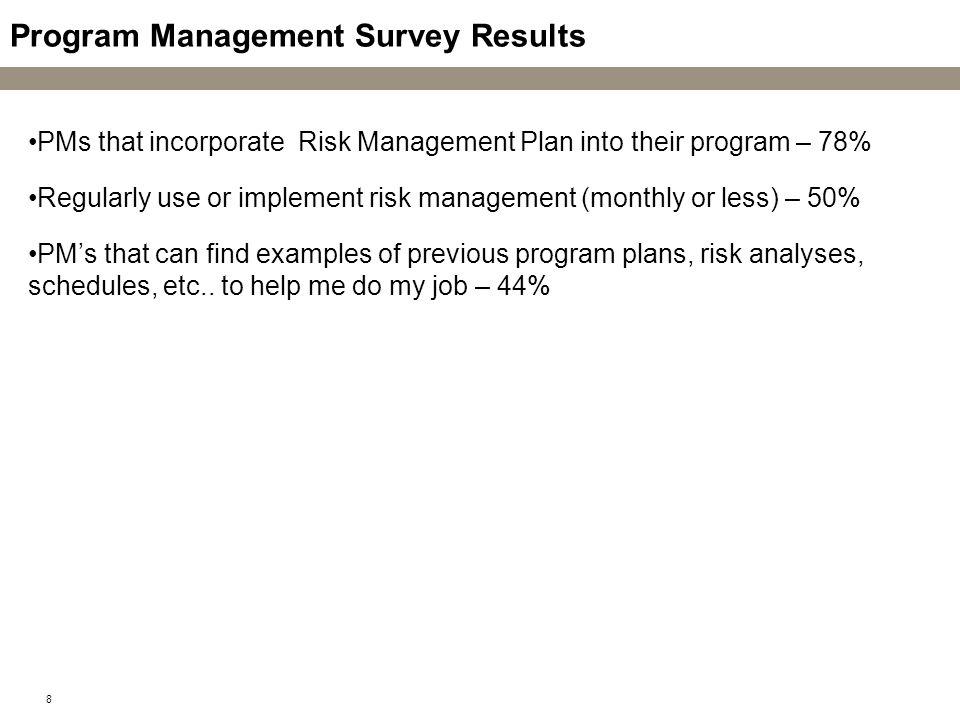 Program Management Survey Results