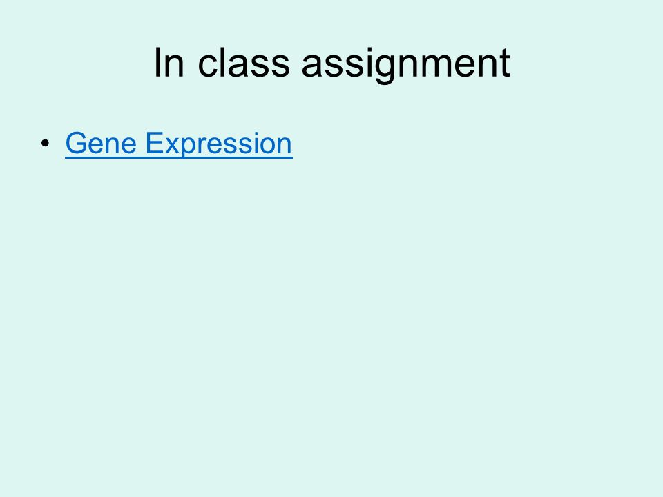 In class assignment Gene Expression