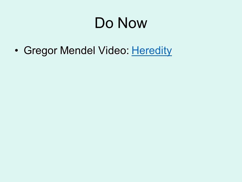 Do Now Gregor Mendel Video: Heredity