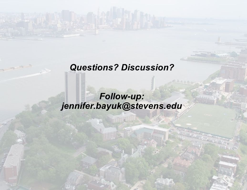 Questions Discussion Follow-up: jennifer.bayuk@stevens.edu