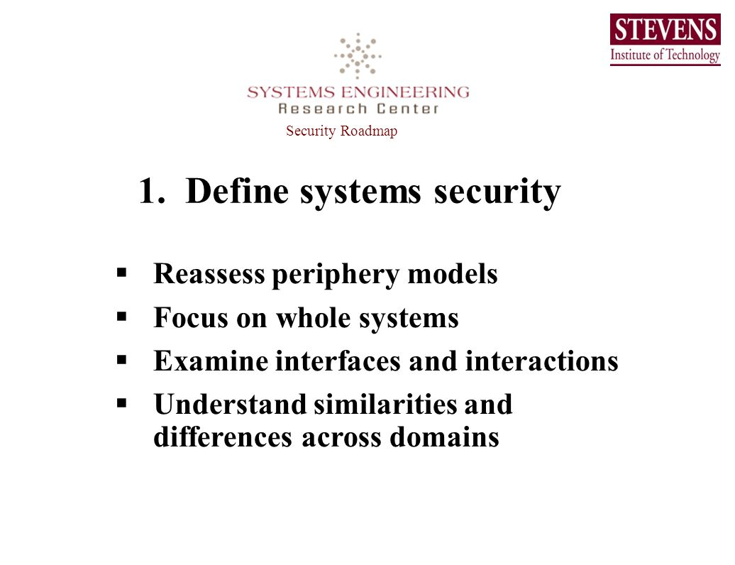 1. Define systems security