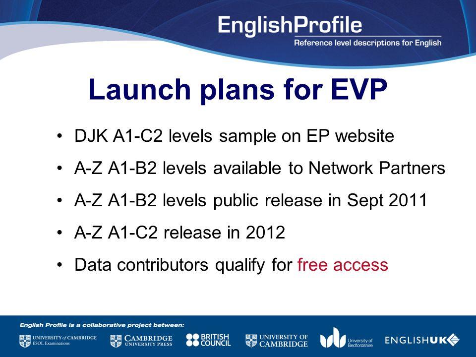 Launch plans for EVP DJK A1-C2 levels sample on EP website