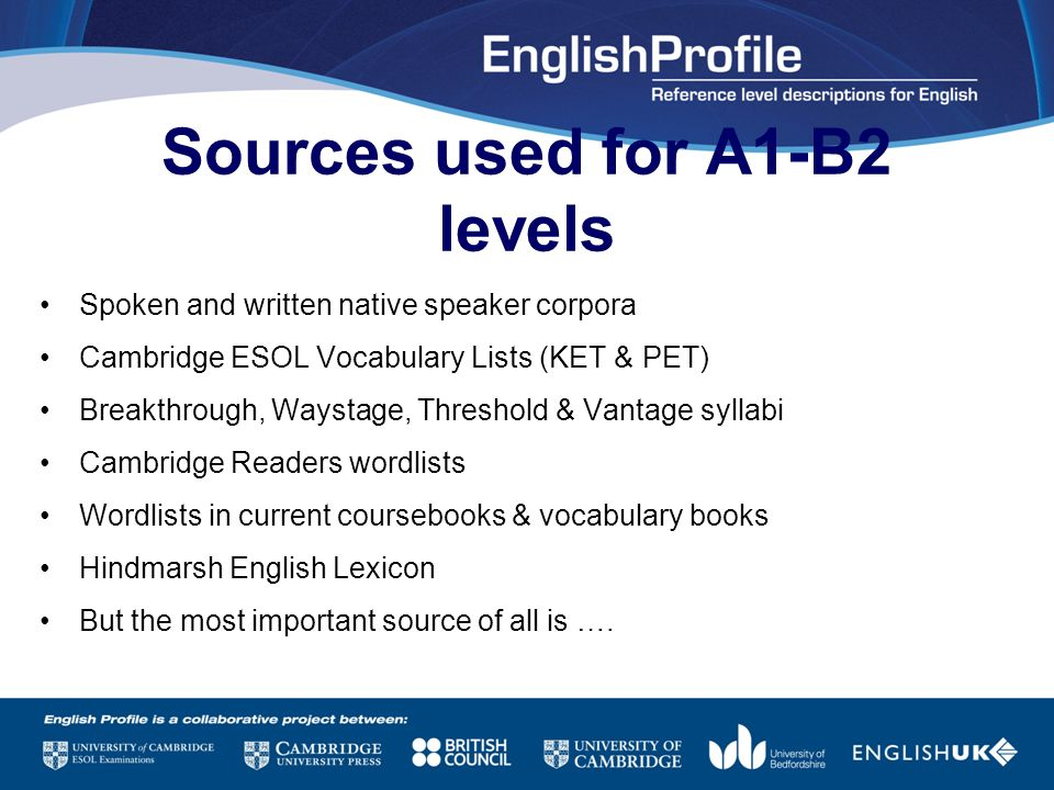 Sources used for A1-B2 levels