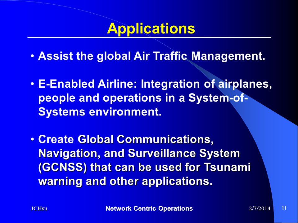 Applications Assist the global Air Traffic Management.