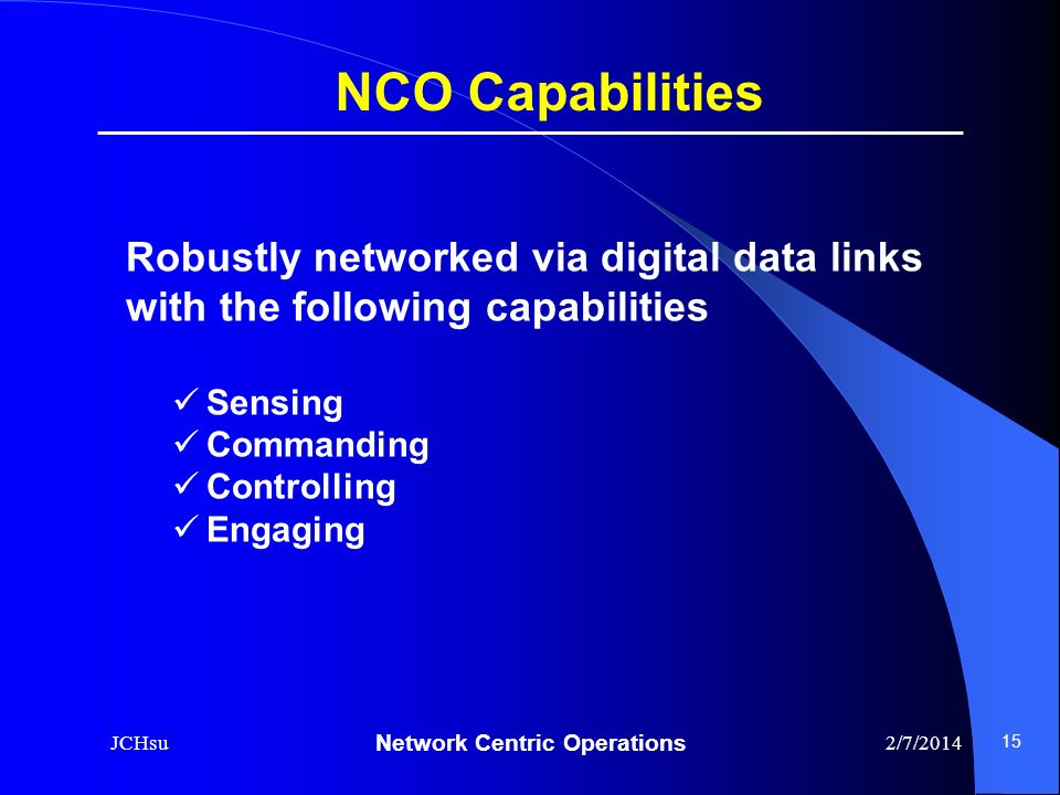 NCO Capabilities Robustly networked via digital data links with the following capabilities. Sensing.