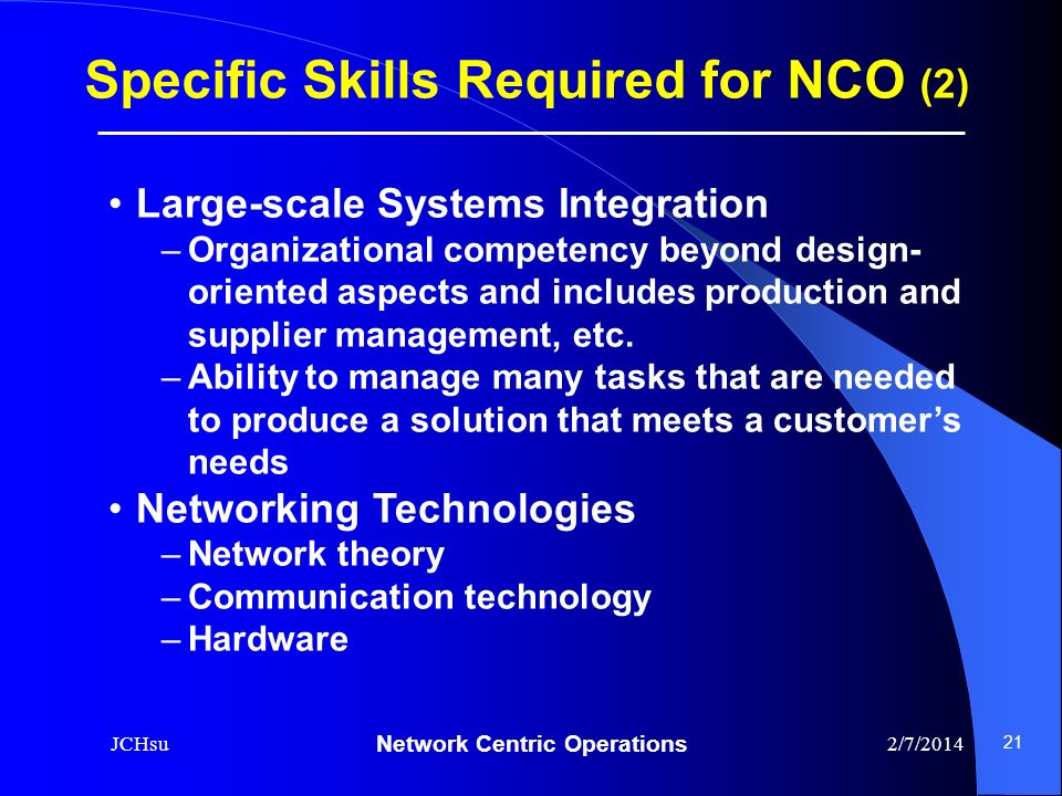 Specific Skills Required for NCO (2)