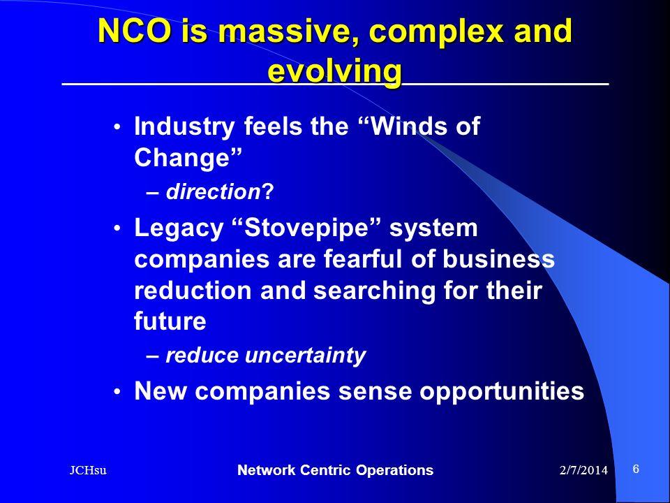 NCO is massive, complex and evolving