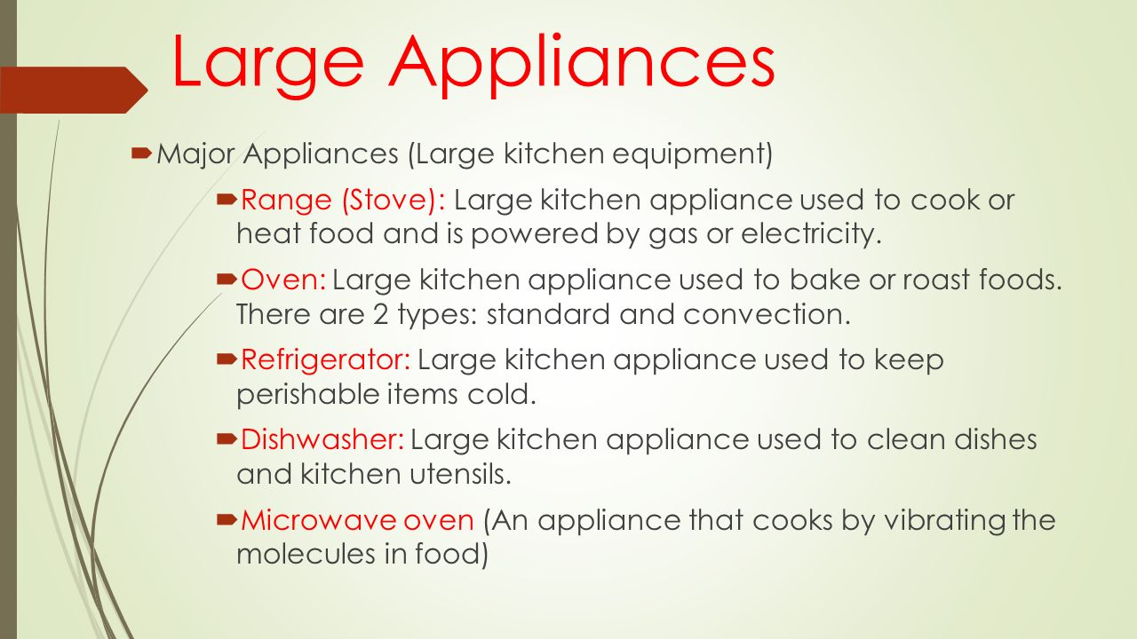 Kitchen equipment and their uses - Kitchen Tools And Equipment And Their Uses Large Appliances Major Appliances Large Kitchen Equipment