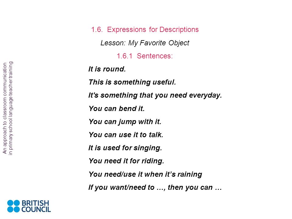 1.6. Expressions for Descriptions Lesson: My Favorite Object
