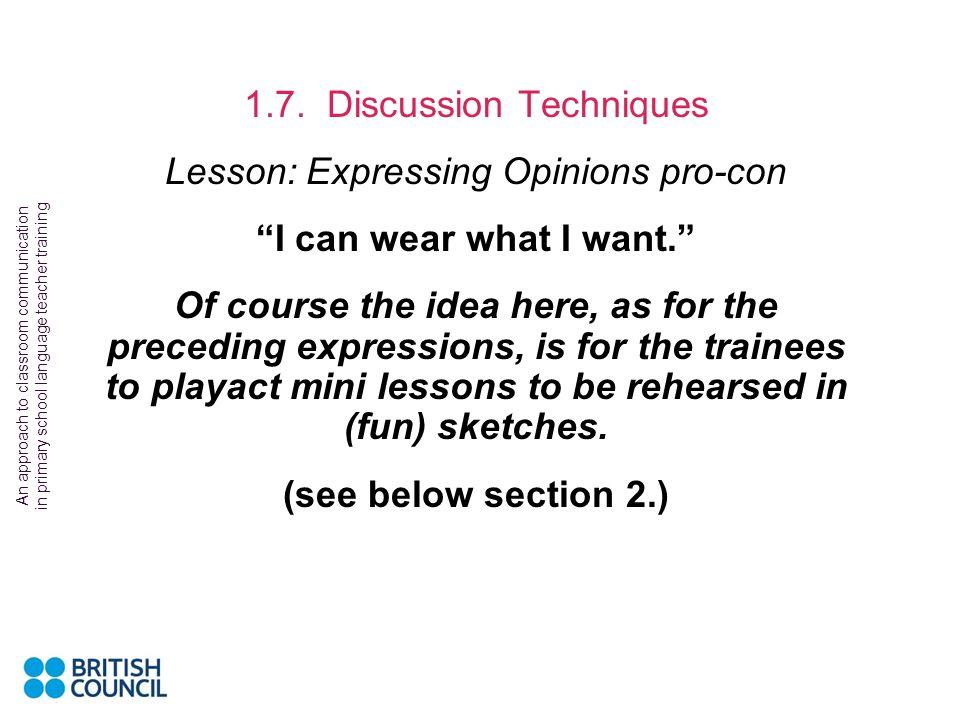 1.7. Discussion Techniques Lesson: Expressing Opinions pro-con