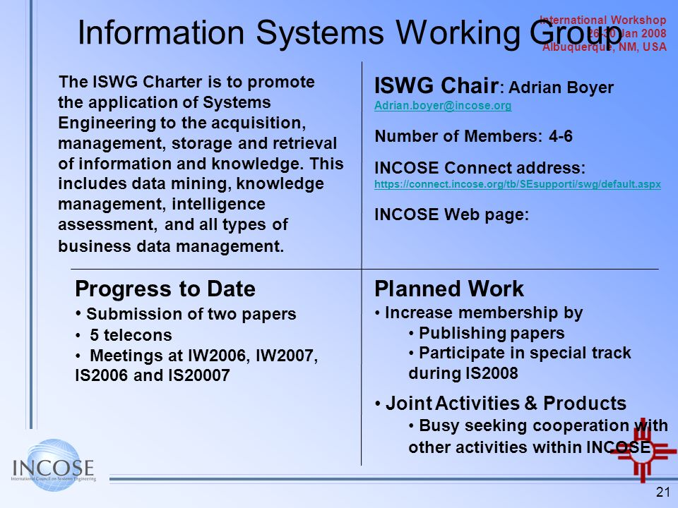 Information Systems Working Group