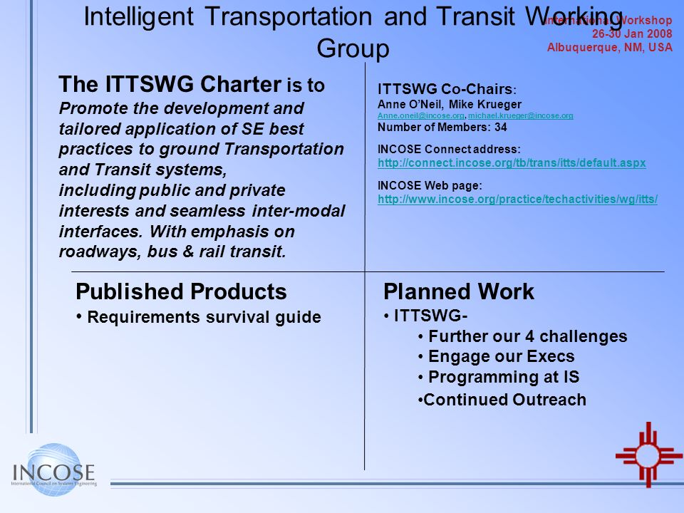 Intelligent Transportation and Transit Working Group
