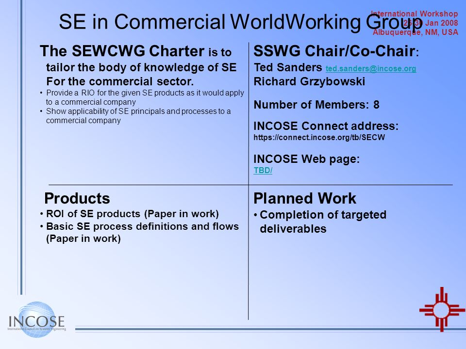 SE in Commercial WorldWorking Group