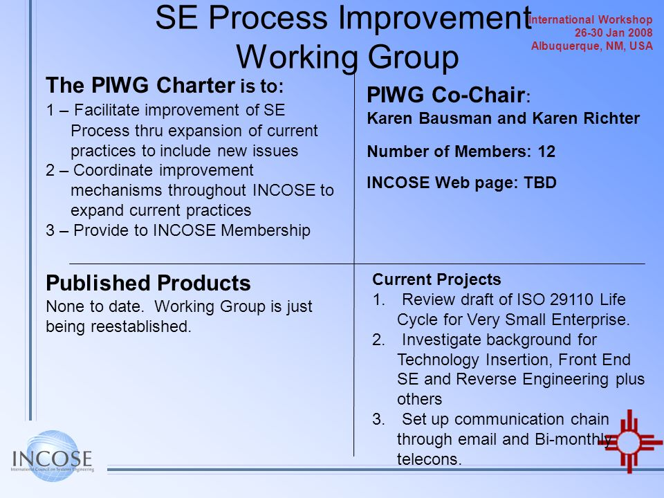 SE Process Improvement Working Group