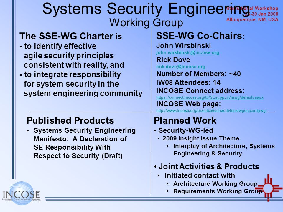 Systems Security Engineering Working Group