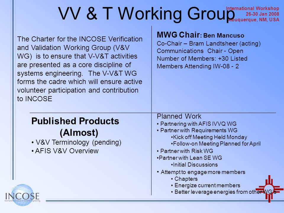 VV & T Working Group Published Products (Almost)